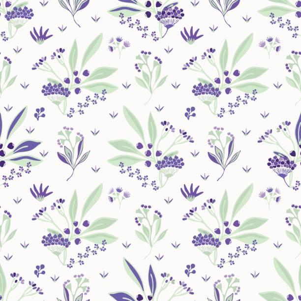 bouquet garni kräuter lila und grün floral - holunderstrauch stock-grafiken, -clipart, -cartoons und -symbole