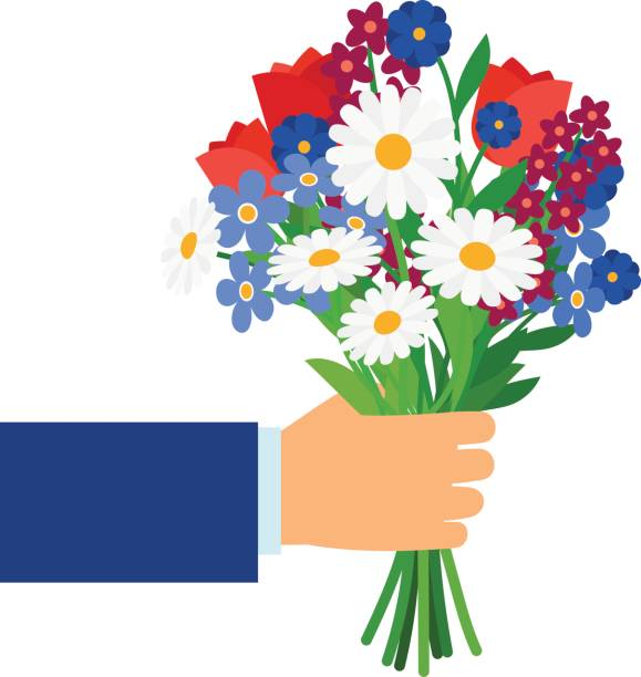 Bouquet in businessman hand Bouquet in businessman hand isolated on white. Man holding and giving vector gift flowers daisies, tulips and cornflowers bunch stock illustrations