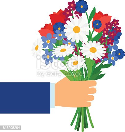 Bouquet In Businessman Hand Stock Vector Art & More Images ...