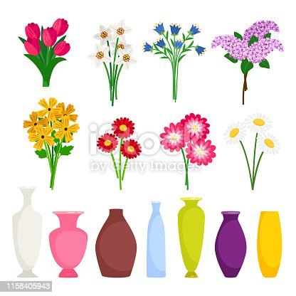 Bouquet maker - different flowers and vases vector elements. Colored bouquet flower blossom illustration