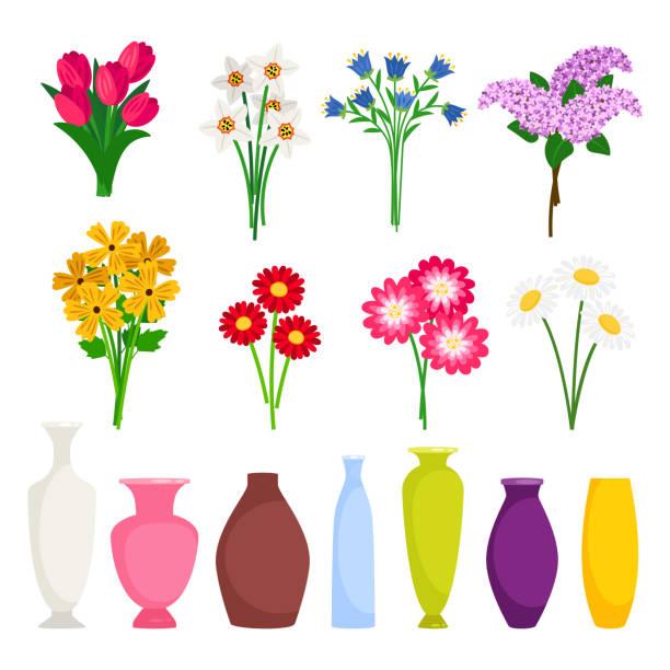 Bouquet maker - different flowers and vases vector elements vector art illustration
