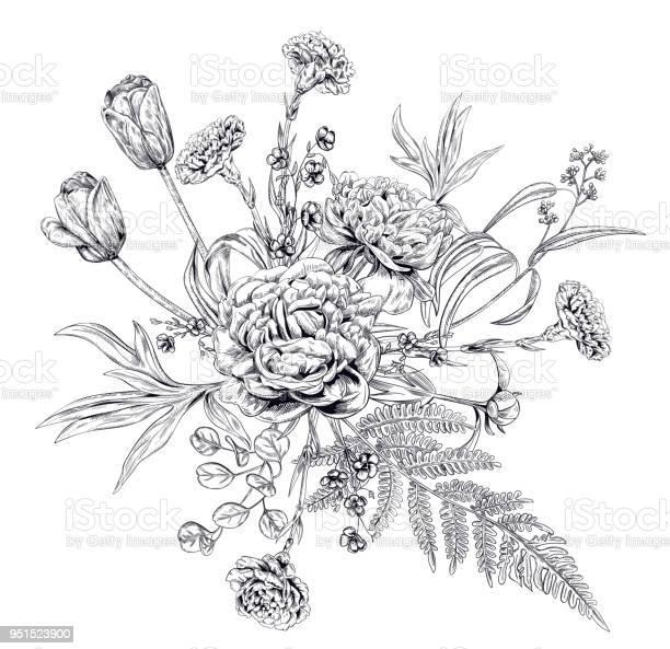 Bouquet of black monochrome flowers and greenery carnation peony vector id951523900?b=1&k=6&m=951523900&s=612x612&h=rejaxnhnc1aenmncfw36e0qmc utvii7zujx hcu2 u=