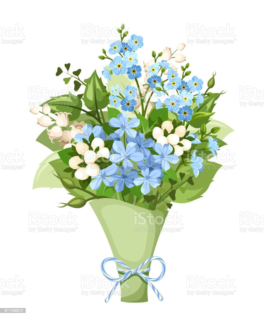 Bouquet of blue and white flowers vector illustration stock vector bouquet of blue and white flowers vector illustration royalty free bouquet of blue izmirmasajfo