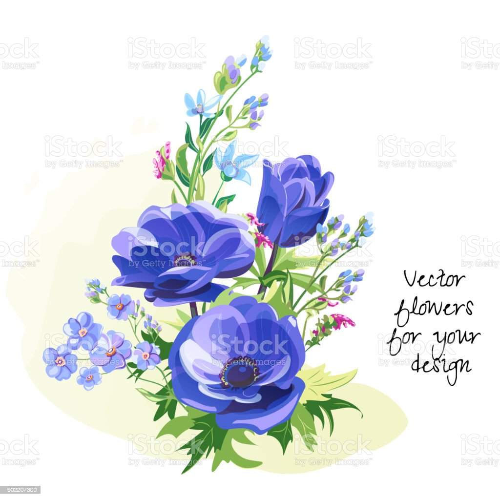 Bouquet Of Blue Flowers Anemone And Forgetmenot Stems And Leaves On ...