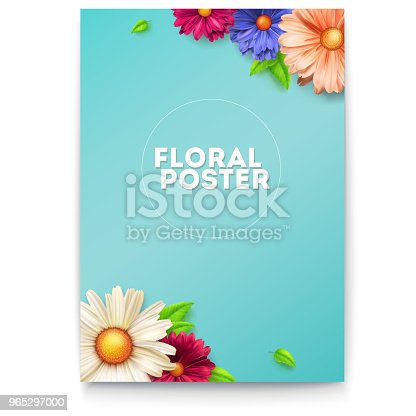 Bouquet Of Buds Flower And Leafs On Poster Concept Of Invitation For Summer Holiday Events Congratulation For Spring Birthday Weddings Anniversary Vintage Pattern From Flowers 3d Illustration - Stockowe grafiki wektorowe i więcej obrazów Baner 965297000