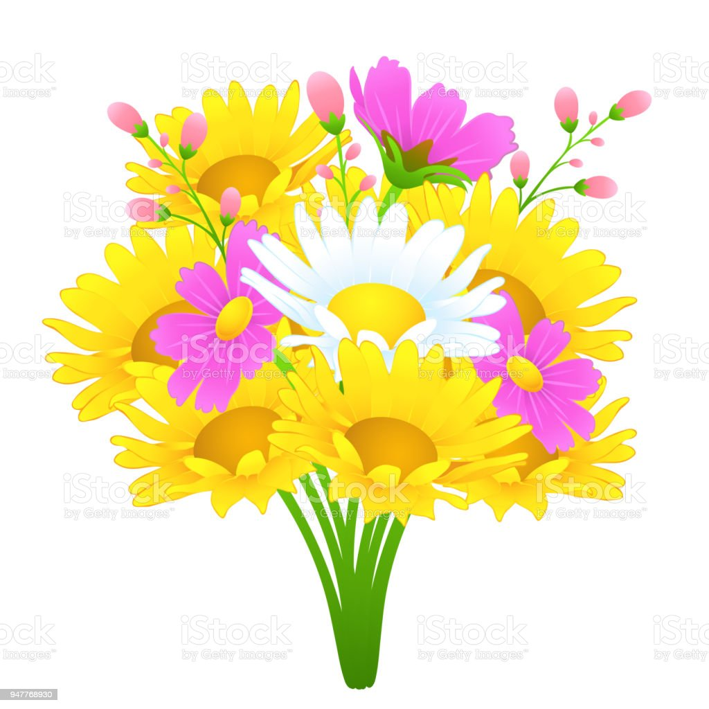 Bouquet of colorful flowers vector drawing bright meadow buds yellow bouquet of colorful flowers vector drawing bright meadow buds yellow and white chamomile izmirmasajfo