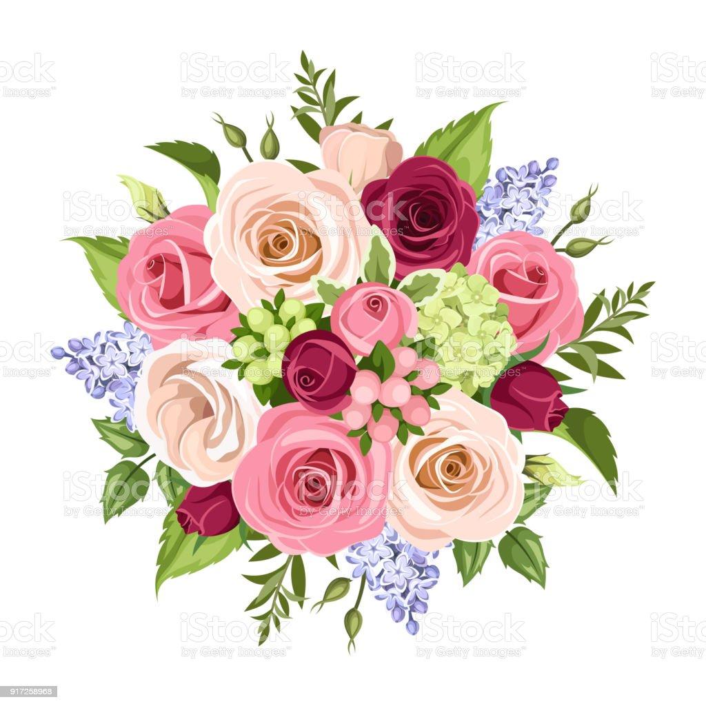 Ramo de flores de colores. Ilustración de vector. - ilustración de arte vectorial
