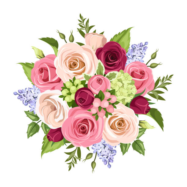 Bouquet of colorful flowers. Vector illustration. Vector bouquet of pink, white, purple and blue roses, lisianthuses and lilac flowers isolated on a white background. bunch stock illustrations