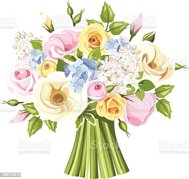 Bouquet of colorful roses lisianthus and lilac flowers vector vector id538773675?b=1&k=6&m=538773675&s=612x612&h=yzvykgkroq705si9fxbkoj9bhxf0hbhqj4ozfbpul0c=