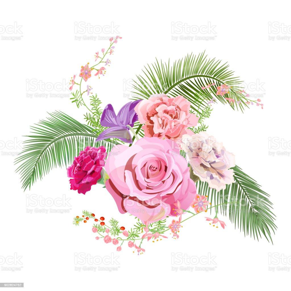 Vetores De Buque De Flores Delicadas Rosa Rosa Cravo Vermelho Roxo