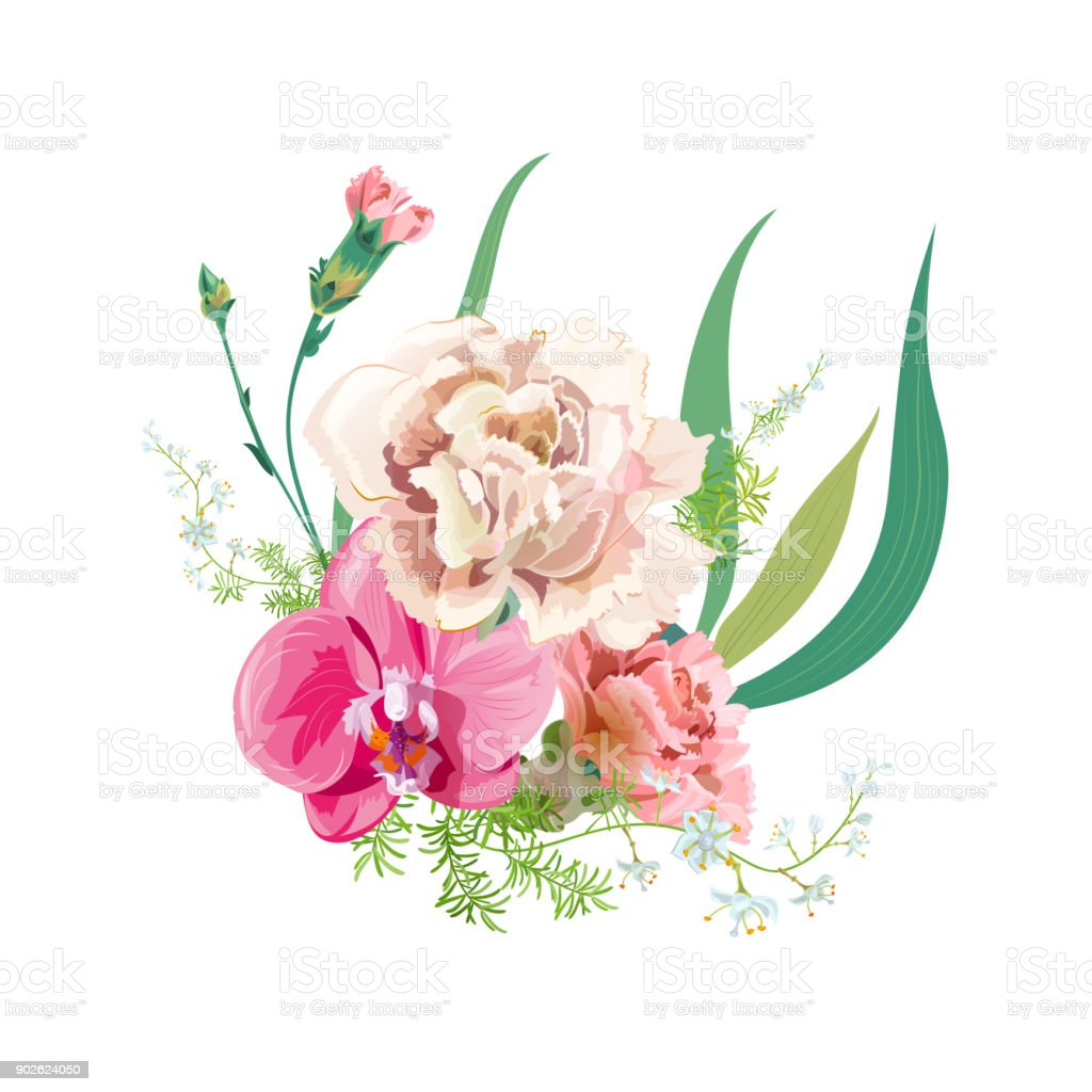 Bouquet Of Delicate Flowers White And Pink Carnation Red Orchid