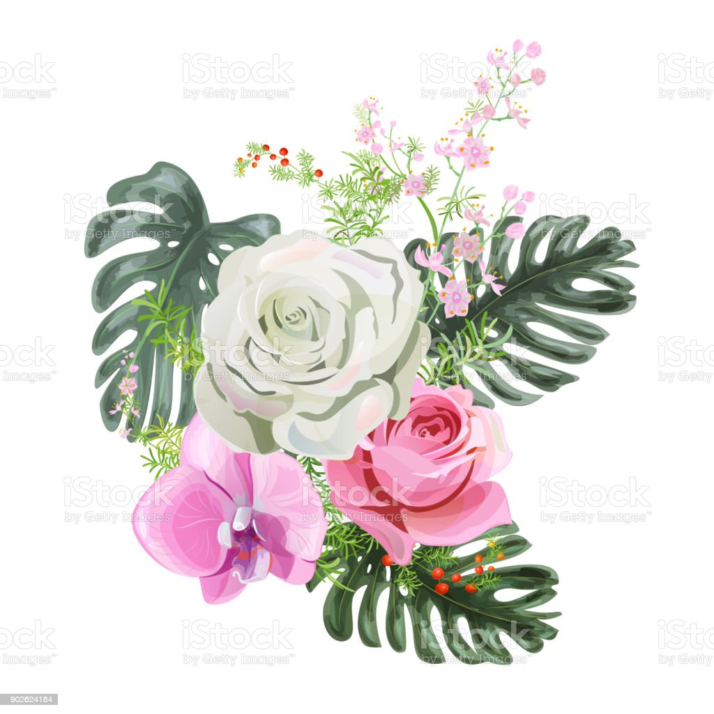 Bouquet Of Delicate Flowers White And Pink Rose Pink Orchid Green