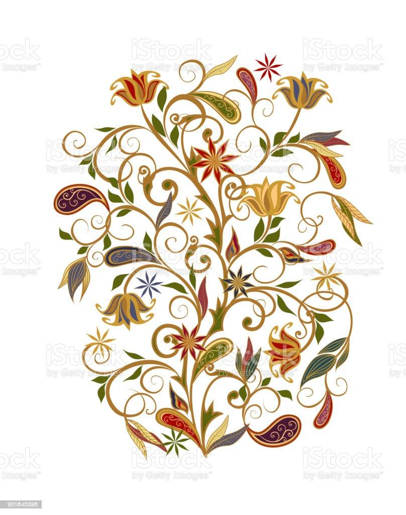 Bouquet de fleurs fantastiques. Fond dans un style ethnique traditionnel. - Illustration vectorielle