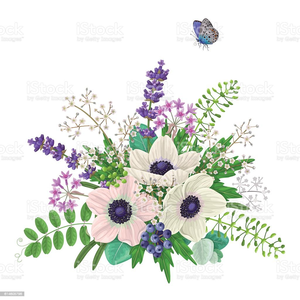 Bouquet of flowers and flying butterfly stock vector art more bouquet of flowers and flying butterfly royalty free bouquet of flowers and flying butterfly stock izmirmasajfo Gallery