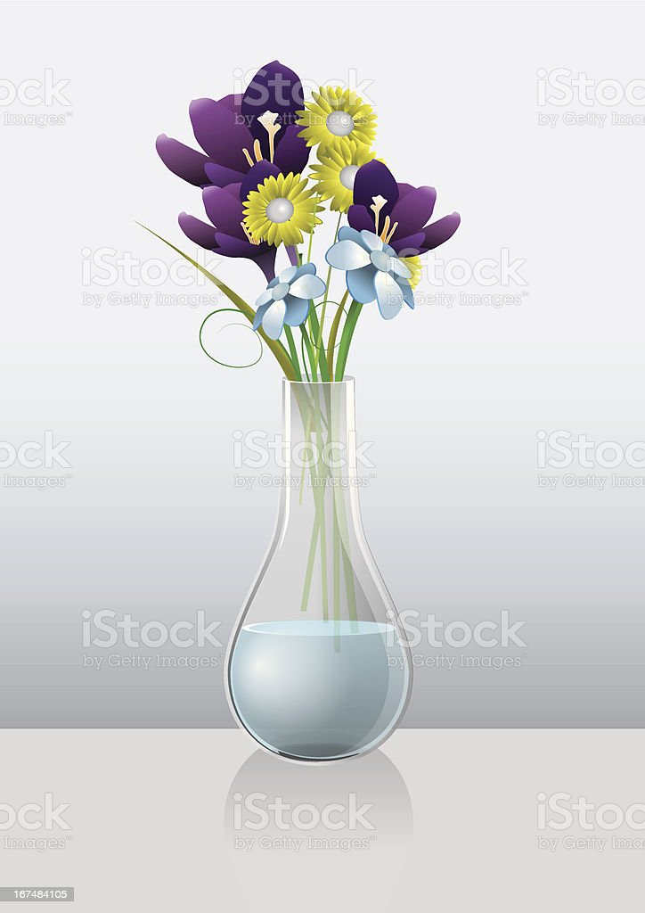 Bouquet of flowers and vase royalty-free stock vector art