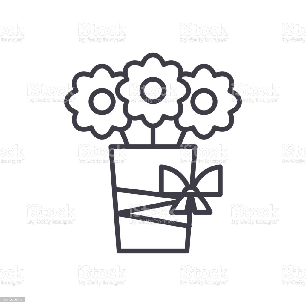 Bouquet of flowers black icon concept. Bouquet of flowers flat  vector symbol, sign, illustration. royalty-free bouquet of flowers black icon concept bouquet of flowers flat vector symbol sign illustration stock vector art & more images of birthday