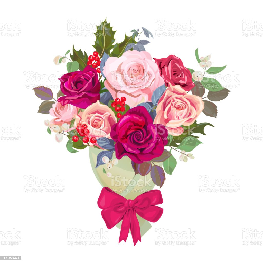 Bouquet Of Flowers Design Concept For Christmas Valentines Day Card ...