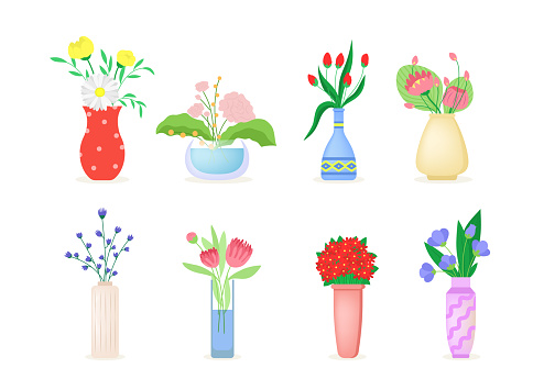 Bouquet of flowers flat icon collection