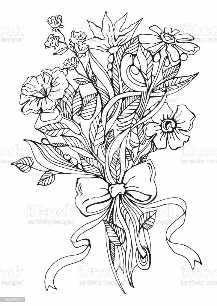 Bouquet De Fleurs Graphique De Dessin Avec Un Bouquet De Fleurs Et Un Arc Vecteurs Libres De Droits Et Plus D Images Vectorielles De Amour Istock