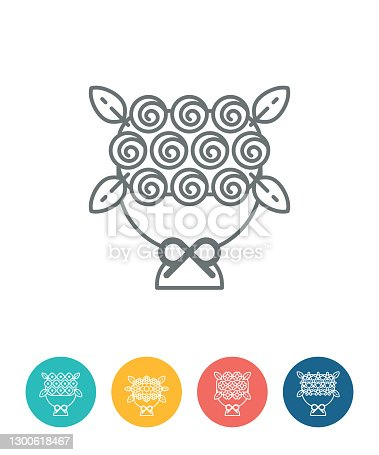 Bouquet of flowers icons,vector illustration. EPS 10.