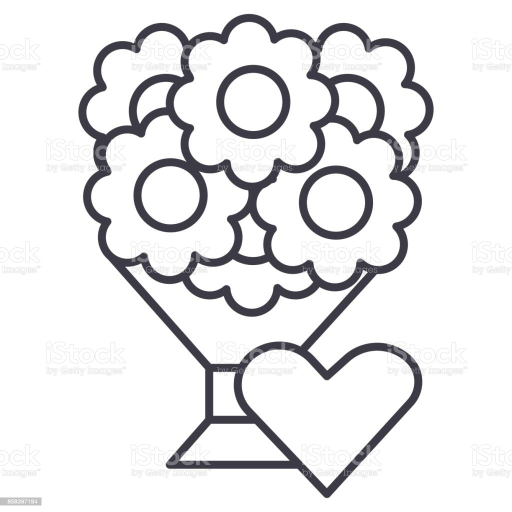Bouquet of flowers illustration vector line icon sign illustration on background editable strokes illustration