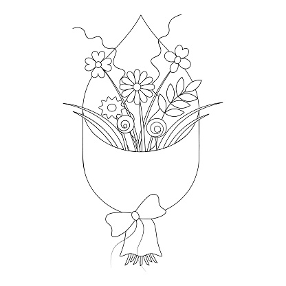 Bouquet of flowers. Sketch. Gift wrapping with different colors is tied with a bow. Vector illustration. Coloring book for children. Contour on an isolated white background. Chamomiles, orchids, roses, leaves. Doodle style.