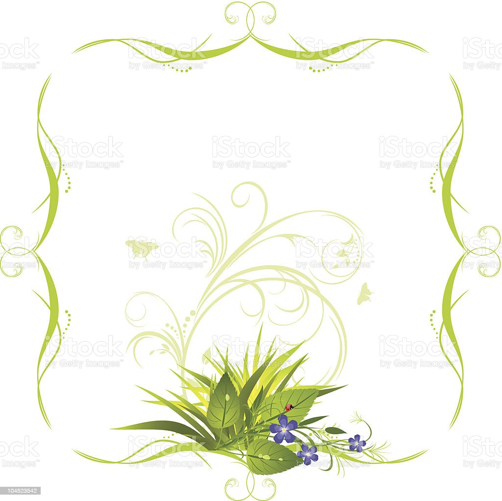 Bouquet of flowers with grass in the decorative frame royalty-free bouquet of flowers with grass in the decorative frame stock vector art & more images of art title