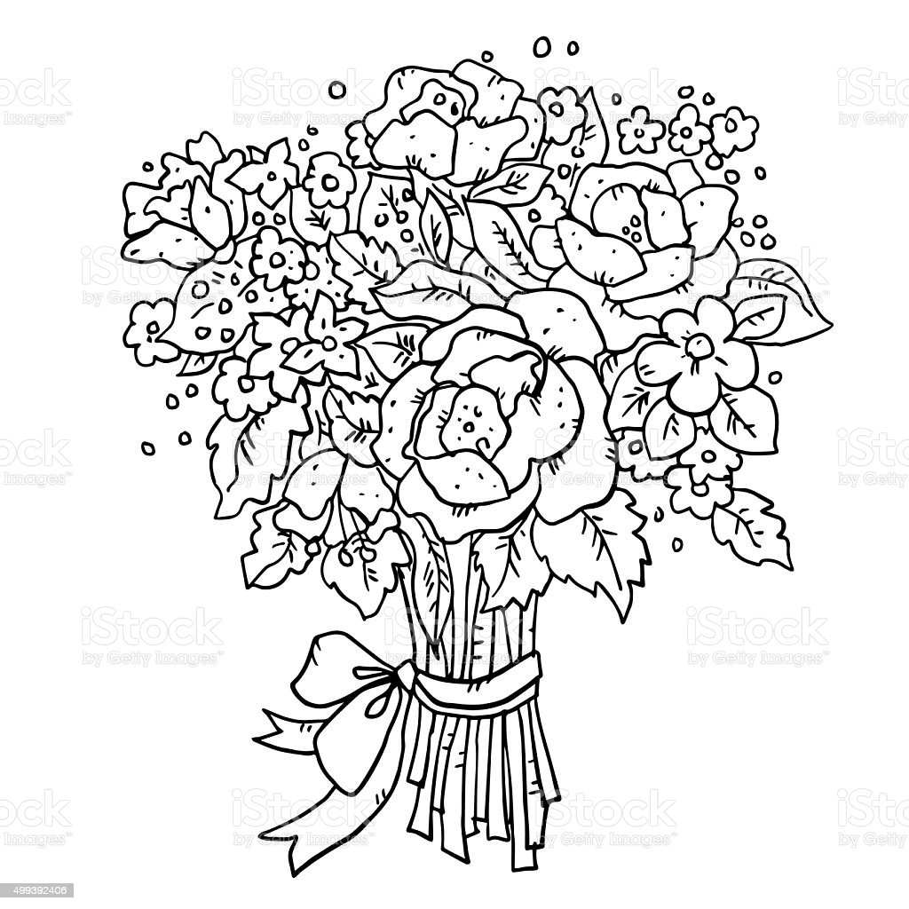 Bouquet of flowers with ribbon and bow stok vektr sanat 499392406 bouquet of flowers with ribbon and bow royalty free stok vektr sanat izmirmasajfo