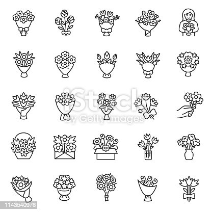 Bouquet of flowers, icon set. Flower bouquets, linear icons. Making, packaging, delivery, and present of flowers. Line with editable stroke