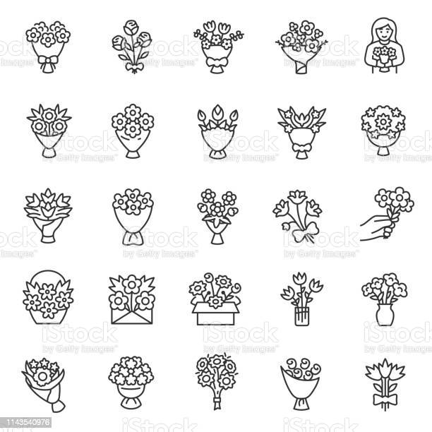 Bouquet of flowerslinear icon set flower bouquets making packaging vector id1143540976?b=1&k=6&m=1143540976&s=612x612&h=gxxiesbwxgwdblcg9cmfmu  2fxrz58s7n6hdd2mxn0=