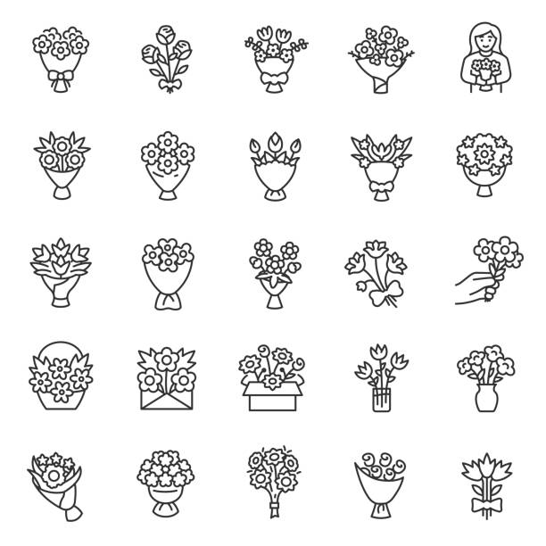 Bouquet of flowers,linear  icon set. Flower bouquets. Making, packaging, delivery, and present of flowers. Editable stroke Bouquet of flowers, icon set. Flower bouquets, linear icons. Making, packaging, delivery, and present of flowers. Line with editable stroke bunch stock illustrations