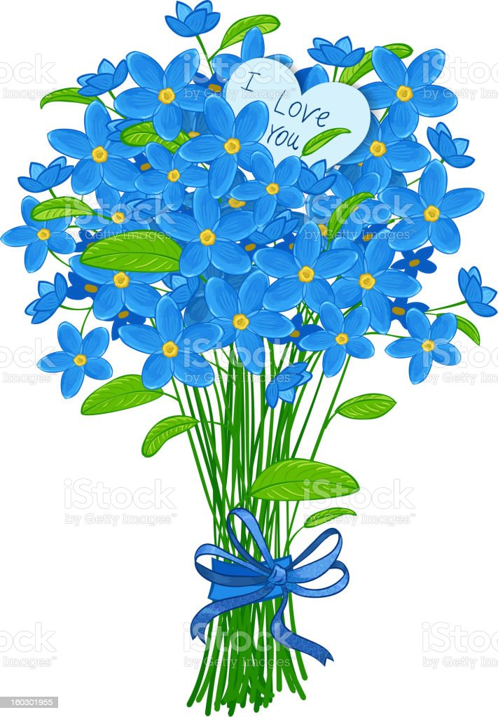bouquet of forget-me-not royalty-free stock vector art
