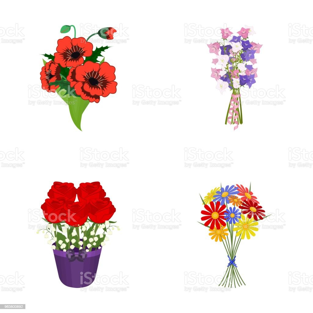 A bouquet of fresh flowers cartoon icons in set collection for a bouquet of fresh flowers cartoon icons in set collection for design various bouquets vector izmirmasajfo