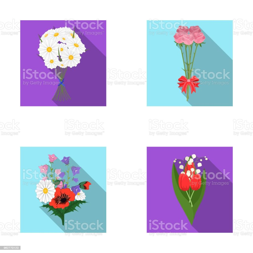 A bouquet of fresh flowers flat icons in set collection for design a bouquet of fresh flowers flat icons in set collection for design various bouquets vector izmirmasajfo