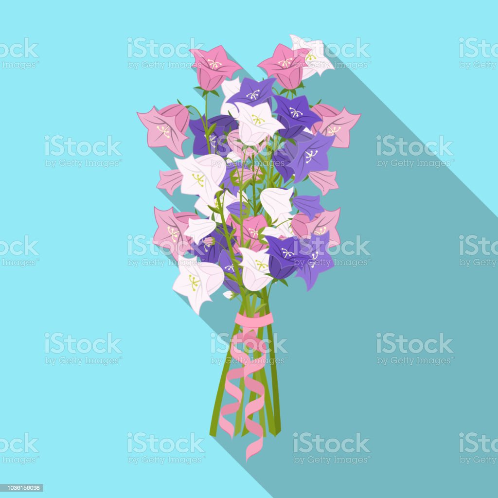 A bouquet of fresh flowers single icon in flat style for design....