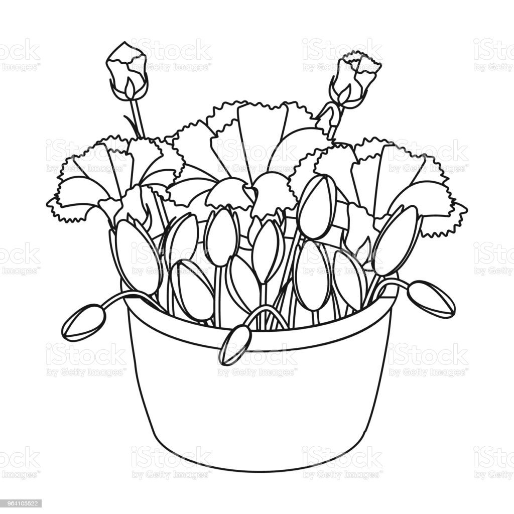 A bouquet of fresh flowers single icon in outline style for design....