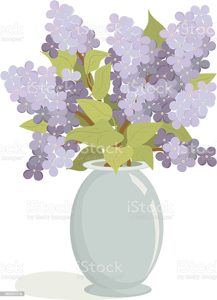 Bouquet of Lilac in Vase royalty-free stock vector art