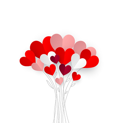 Bouquet of origami hearts on top of hand-drawn branches on white background