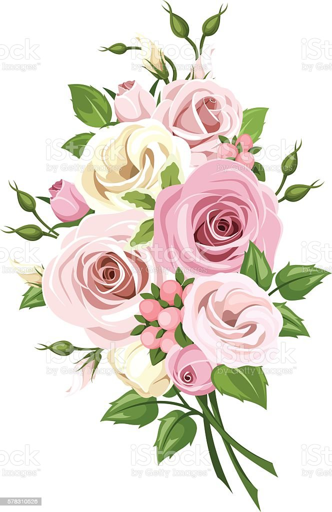 bouquet of pink and white roses and lisianthus flowers vector illustration stock vector art. Black Bedroom Furniture Sets. Home Design Ideas