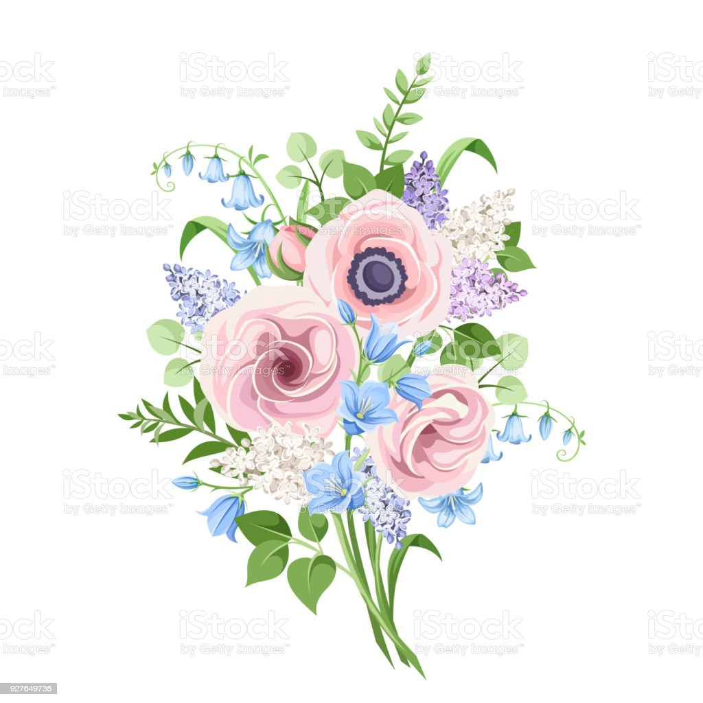 Bouquet of pink blue and purple flowers vector illustration stock bouquet of pink blue and purple flowers vector illustration royalty free bouquet izmirmasajfo