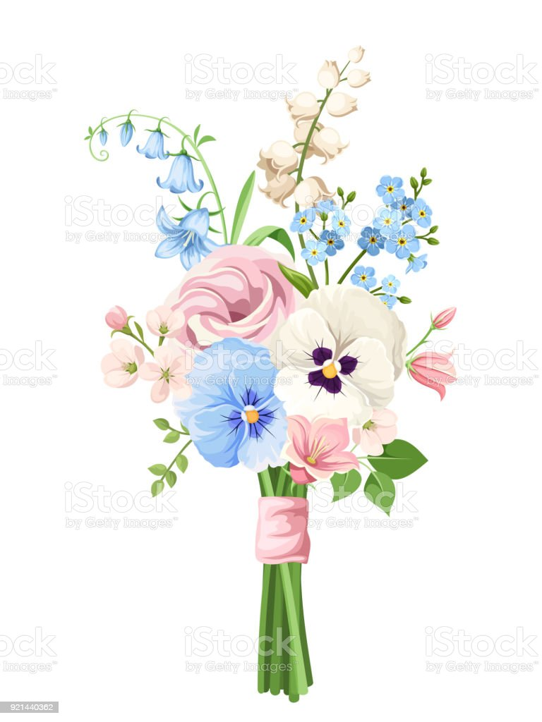 Bouquet Of Pink Blue And White Flowers Vector Illustration Stock