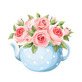 Vector bouquet of pink English roses in a blue teapot isolated on a white background.