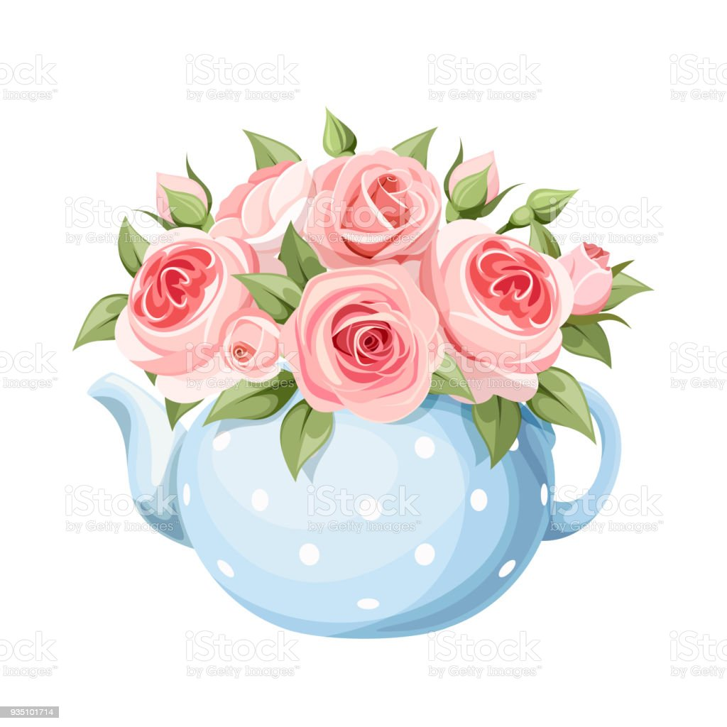 Bouquet of pink roses in a blue teapot. Vector illustration. vector art illustration