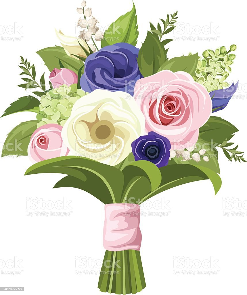 Bouquet of pink, white and blue flowers. Vector illustration. vector art illustration