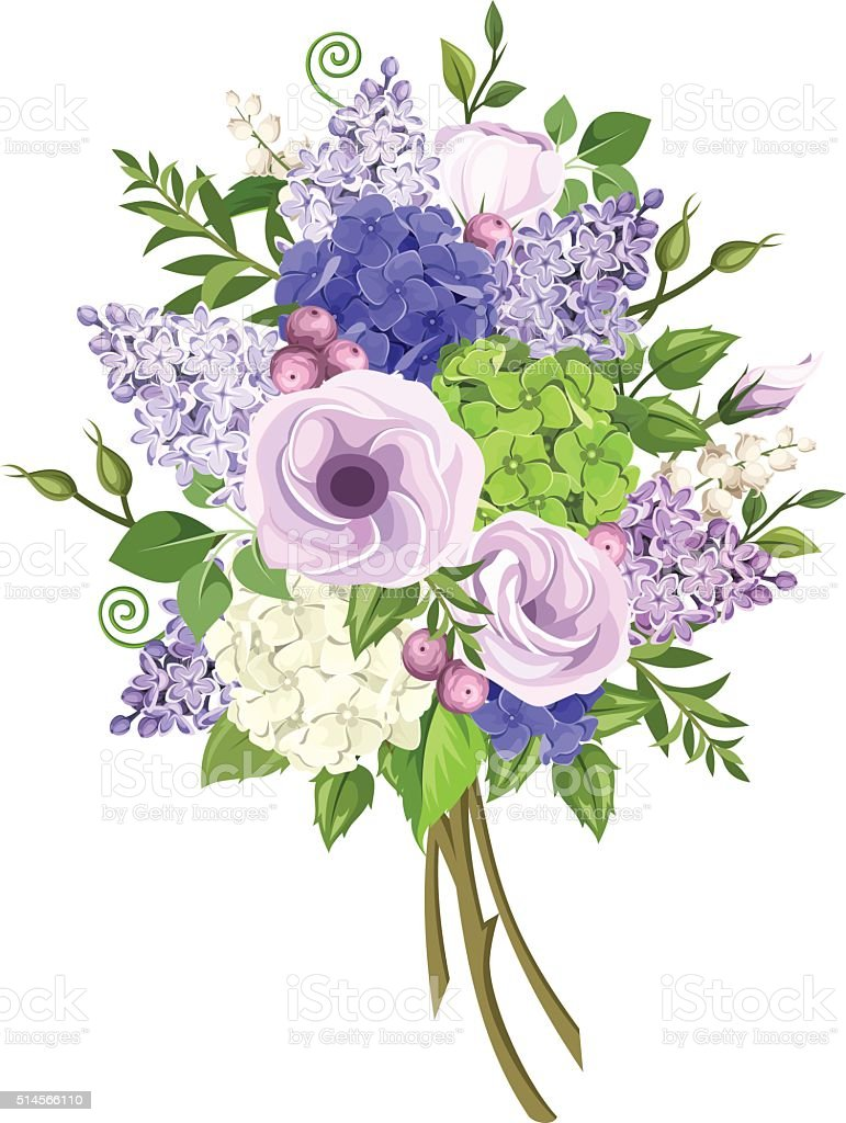 bouquet of purple blue white and green flowers vector illustration