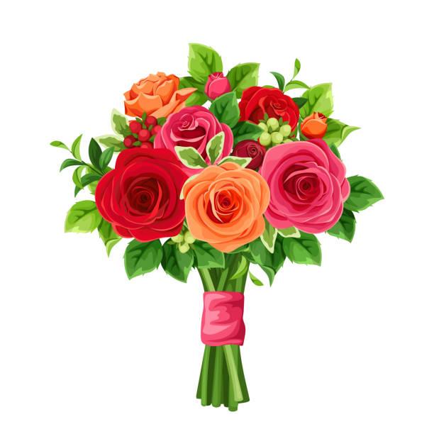 stockillustraties, clipart, cartoons en iconen met boeket rozen rood en oranje. vectorillustratie. - boeket