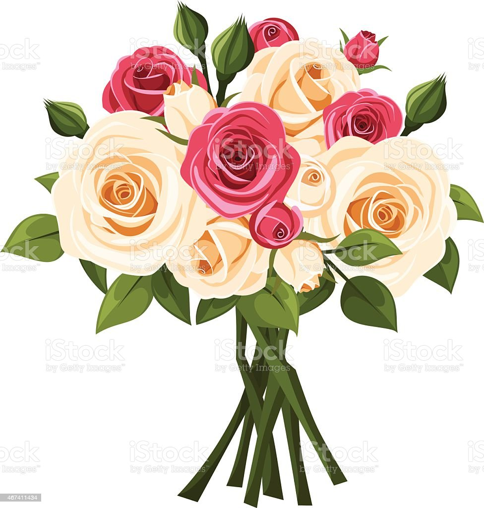 Bouquet of red and white roses vector illustration stock vector art bouquet of red and white roses vector illustration royalty free bouquet of red izmirmasajfo
