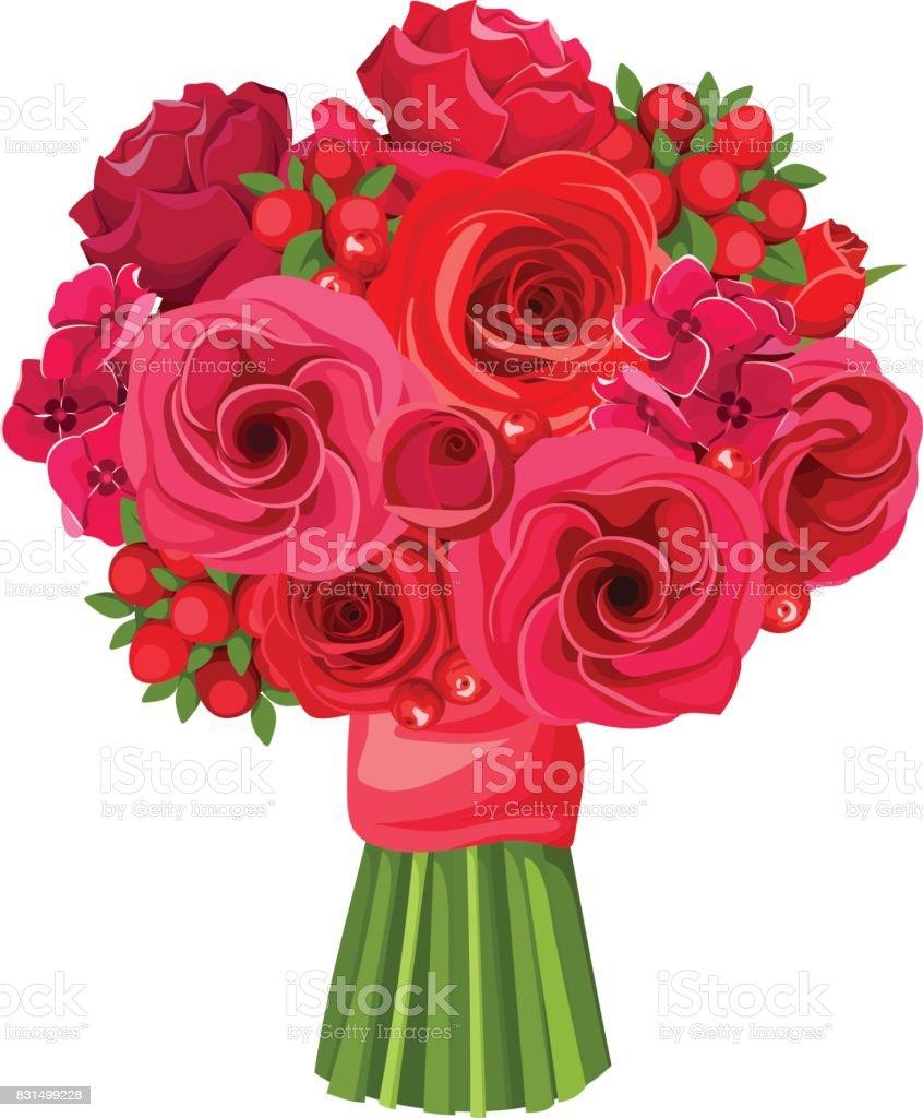 Ramo de flores rojas. Ilustración de vector. - ilustración de arte vectorial