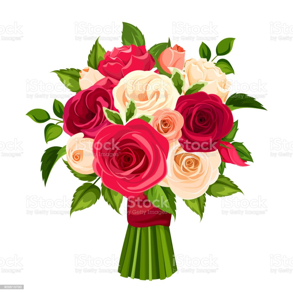 Bouquet of red, orange and white roses. Vector illustration.