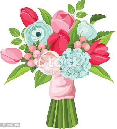 Bouquet Of Red Pink And Blue Flowers Vector Illustration ...
